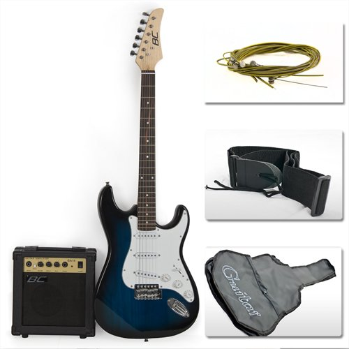 full size blue electric guitar with amp case and accessories pack beginner starter package. Black Bedroom Furniture Sets. Home Design Ideas