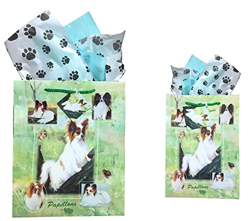 Dog Breed Gift Bags Set of Two with Tissue Paper (Papillon)