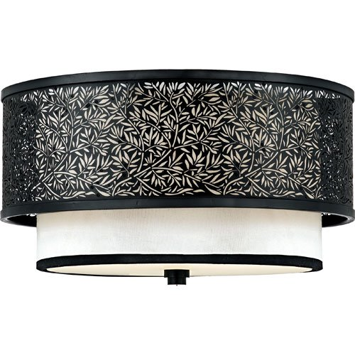 Quoizel UT1615K Utopia Medium Flush Mount Lamp, Mystic Black