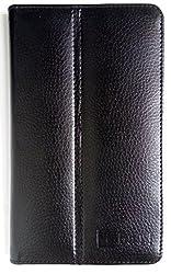 ZA eSHOP LEATHER FLIP CASE FOR IBALL SLIDE D7061 TABLET FRONT & BACK FLAP COVER STAND HOLDER BLACK