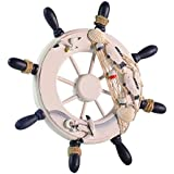 niceeshop(TM) Ornamental Home Nautical Wall Marine Decor Wood Pirate Ship Helm Wheel, Random Color