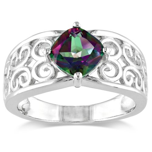 Sterling Silver, Mystic Green Topaz Ring, Size 8