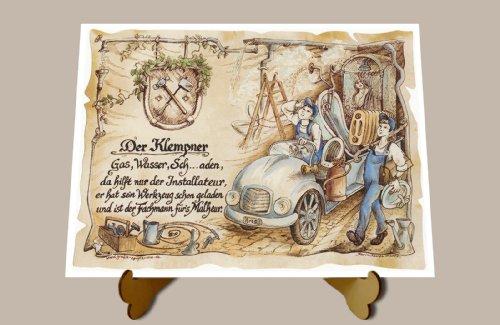 geschenk-klempner-schlosser-installateur-zeichnung-color-30-x-21-cm-mit-aufsteller