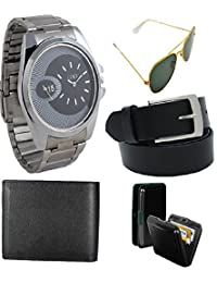 Rdhldr New Gift Set Of Watch Sunglass Belt Wallet And Cardholder