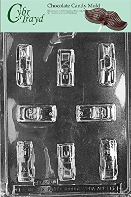 Cybrtrayd Cars Chocolate Candy Mold with Exclusive Cybrtrayd Copyrighted Chocolate Molding Instructions