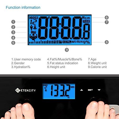 Etekcity-984H-Bscula-de-Bao-Digital-con-Anlisis-Corporal-Mide-el-Peso-Grasa-Corporal-Porcentaje-de-Agua-Msculo-Hueso-y-Calora-con-la-Tecnologa-BIA-180kg400lbs-Negro