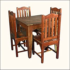 Small reclaimed wood 5pc dining table and for Dining room tables on amazon
