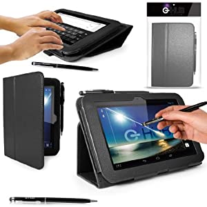 """G-HUB® Tablet Case for Original 7"""" Hudl Tablet - BLACK Case / Cover / Skin with Built-In PropUp Stand (Dual Angle for Viewing & Typing Positions) - designed by G-HUB for use with Original Hudl 7 inch Tablet - Released in 2013 (NOT second 2014 version). Case includes BONUS: G-HUB ProPen Stylus."""