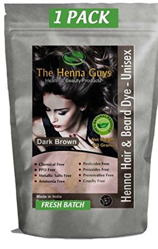 1 Pack of Dark Brown Henna Hair and Beard Color / Dye - 150 Grams - Chemicals Free Hair Color - The Henna Guys (Natural Hair Dye compare prices)