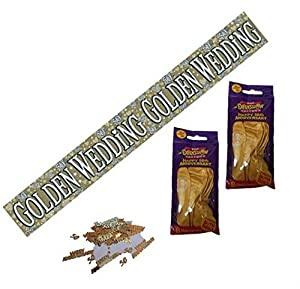 50th Golden Wedding Anniversary Party Pack Banner, Confetti, Balloons