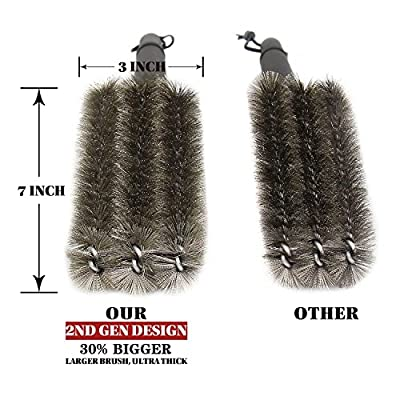 """iDoCare BBQ Grill Brush - 18"""" - 3 Stainless Steel Brushes in 1 - Best Barbecue Grill Cleaning Brush Provides 360° Cleaning - Perfect For Weber, Char-Broil, Gas, Electric, Porcelain & Infrared Grills"""