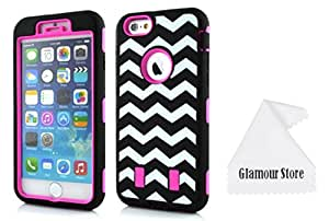 iPhone 6 Plus Case,Hot Pink Wave Patterns Heavy Duty Defender Dirt Shockproof Armor Case Cover For Apple iPhone 6 Plus 5.5 inch With a Free Cleaning Cloth As a Gift