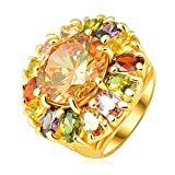 Yellow Chimes Sun Spark Swiss Zircon Multicolor Rose Gold Ring for Women by YELLOW CHIMES
