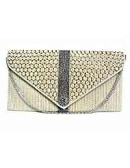 HAND CANDY WHITE PEARL RETRO STYLE FLAP SILVER CRYSTAL DIAMANTE LADIES PARTY EVENING WEDDING CLUTCH HAND BAG POUCH...