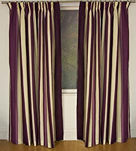 Mali Plum Cotton Blend Lined 66x90 Striped Pencil Pleat Curtains #rtsrev *hc* by Curtains