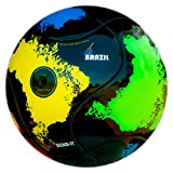 Bend-It Brazil Youth Soccer Ball Thermally Fused 6- Panel (Black, Yellow, Red, Blue, and Green)