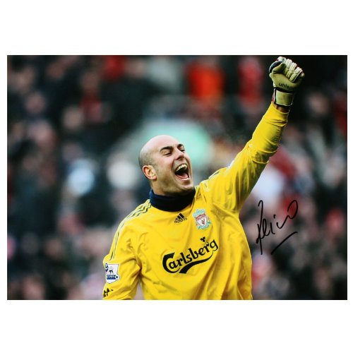 Pepe Reina Signed Liverpool Photo: Celebrating Victory Over Everton