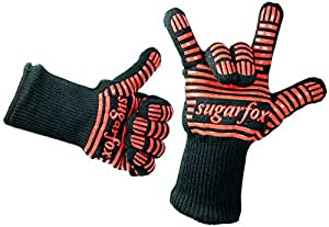 SugarFox Heat Resistant Gloves for Oven, Grill & Stove - Triple Layered Protection - Tough Firefighting Aramid Fiber & Durable Silicone Grip - 932°F Resistance (Black/Red) [24 Month Warranty]