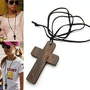 CY-Buity Fashion Women Large Wooden Cross With Long Black Sweaters Leather Necklace