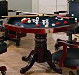 3-in-1 Cherry Finish Wood Dining, Poker, Bumper Table