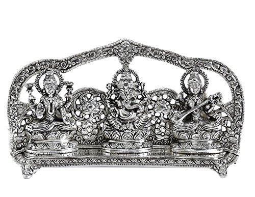 Silver Plated Laxmi Ganesh Sarswati Oxidized Silver Finish (10 x 2 x 5.25 inch) For Exclusive Gifts Diwali,New Year,House Warming, Wedding, Anniversary