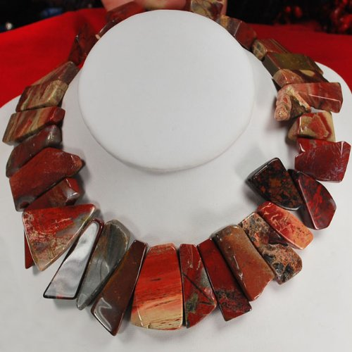 Natural Red Agate Nugget Silver Toggle Necklace N2_0612_11
