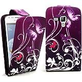 Accessory Master Etui Flip en cuir pour Samsung Galaxy Trend Duos S7562/S7560 Violet Fleur