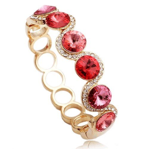 Pink Crystal Bangle Bracelet for Women Novelty
