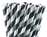Black Striped Paper Straws - 50 Count