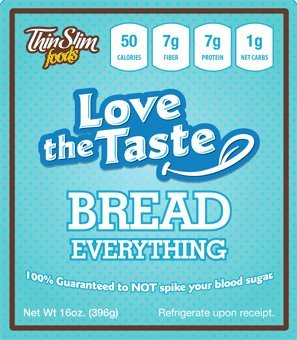 ThinSlim Foods 50 Calorie, 1g Net Carb, Love-The-Taste Low Carb Bread Everything (Thin Slim Bread compare prices)