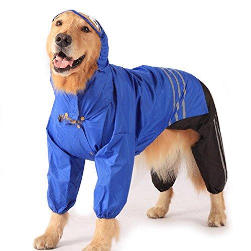 TQP-CK Hunde Regenjacken Regenmantel Jacke für Kleine und Große Hunde wasserdicht Blau