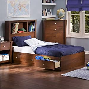 South Shore Mika Kids Twin Bookcase Storage Bed Set in Classic Cherry Finish by South Shore