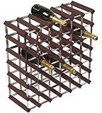 RTA 42 Bottle Traditional Wine Rack Self Assembled Dark Pine Wood/Galvanised Steel Kit - 6x6 - WINE3019