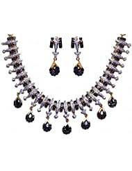 Black Spinel & Cubic Zircon Stone Studded Necklace & Earrings Set