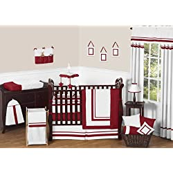 Sweet Jojo Designs White and Red Modern Hotel Unisex Baby Bedding 9pc Boy or Girl Crib Set