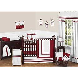 Sweet Jojo Designs White and Red Modern Hotel Unisex Baby Bedding 9pc Boy or Girl Crib Set