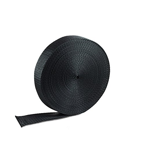 Houseables Nylon Webbing Strapping Material, Heavy Flat Strap, 1 Inch W x 10 Yard, Black, UV Resistant Fabric, Web for Bags, Backpacks, Belts, Climbing Harnesses, Slings, Collars, Tow Ropes (1 Webbing Clip compare prices)