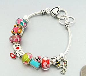 Love Charm Bracelet Teddy Bear Heart Bee Murano Glass Bead BY Silver Tone