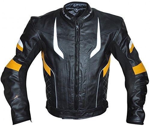 Motorradjacke Lederjacke Chopperjacke Cruiser jacke 4x Farbkombinationen Rot, Blau, Gelb, Grau , Größe:XL;Farbe:Gelb