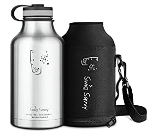 SWIG SAVVY Stainless Steel Insulated Water Bottle and Beer Growler 64 oz, Black