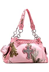 Realtree Pink Bag, Rhinestone Bling Cross Womens Large Studded Shoulder Bag Purse Tote