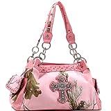 Realtree Pink Bag, Rhinestone Bling Cross Womens Large Studded Shoulder Bag Purse Tote