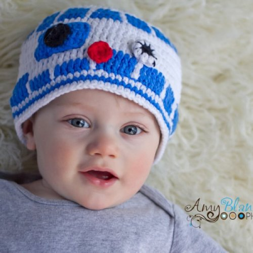 Milk protein cotton yarn handmade baby R2D2 hat - fits 3-12 months