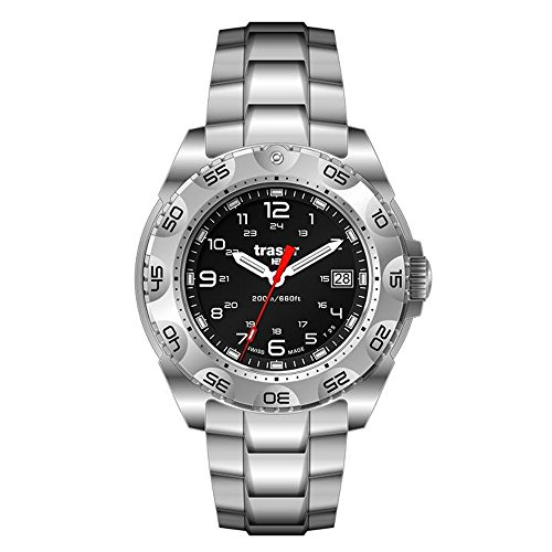 Traser 105474 Men's Survivor Stainless Silver Bracelet Band Black Dial Watch