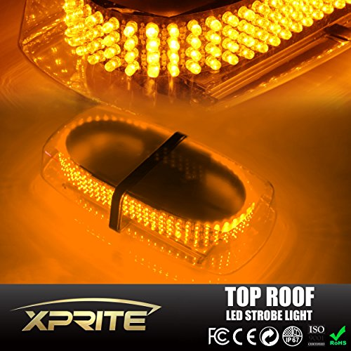 Xprite Amber 240 LED Law Enforcement Emergency Hazard Warning LED Mini Bar Strobe Light with Magnetic Base (Amber Led Warning Lights compare prices)