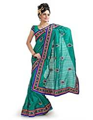 Designersareez Women Bhagalpuri Silk Embroidered Teal Saree With Unstitched Blouse(1035)