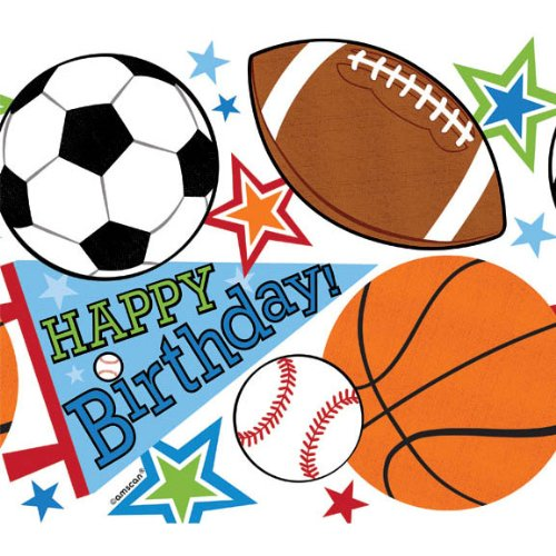 "Amscan Superstar Ball Sports Birthday Party Plastic Table Cover, Multicolored, 54"" x 84"""