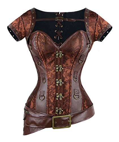 Charmian Women's Spiral Steel Boned Goth Retro Overbust Steampunk Bustier Corset Brown Large