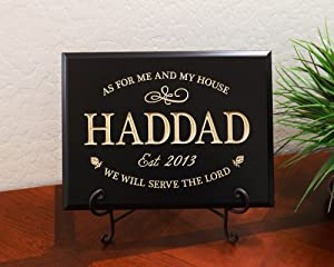 "Timber Creek Design Decorative Carved Wood Sign Personalized with Family Name, Year Established and Quote ""As for me and my house, we will serve the Lord"" 3D Carved 12""x9"" Black - Indoor"