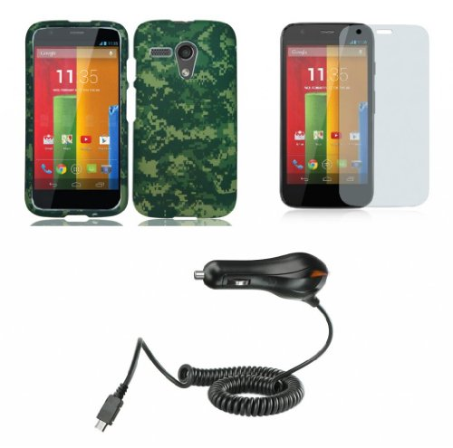 Motorola Moto G (1St Gen. 2013) - Premium Bundle Pack - Army Green Camo Design Shield Case + Atom Led Keychain Light + Screen Protector + Micro Usb Car Charger